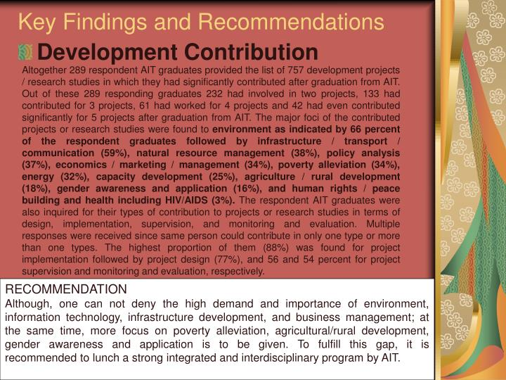 Key Findings and Recommendations
