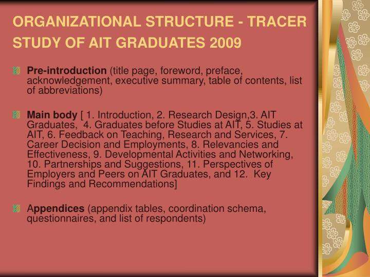 ORGANIZATIONAL STRUCTURE - TRACER STUDY OF AIT GRADUATES 2009