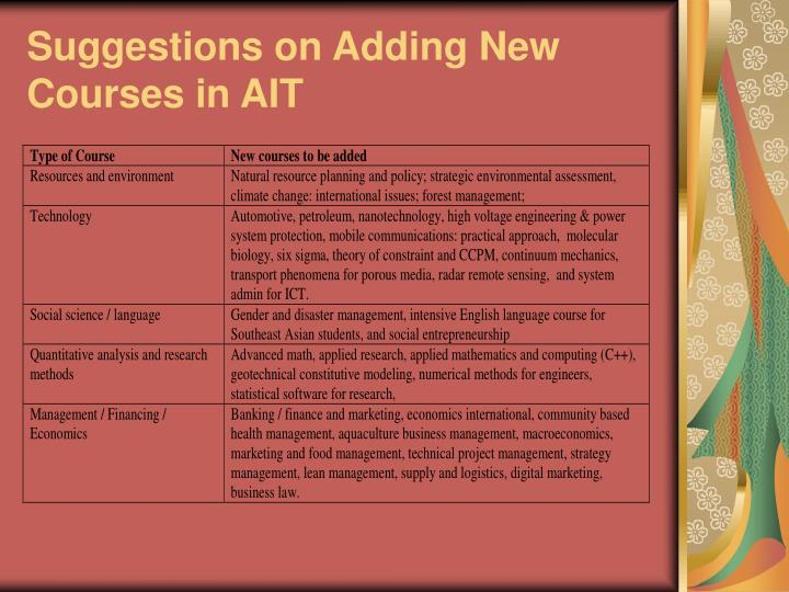 Suggestions on Adding New Courses in AIT