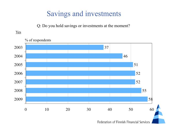 Savings and investments