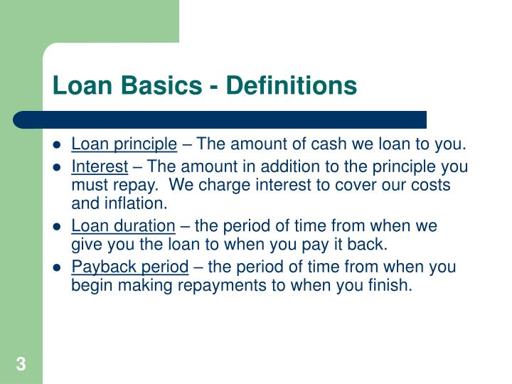 Loan Basics - Definitions