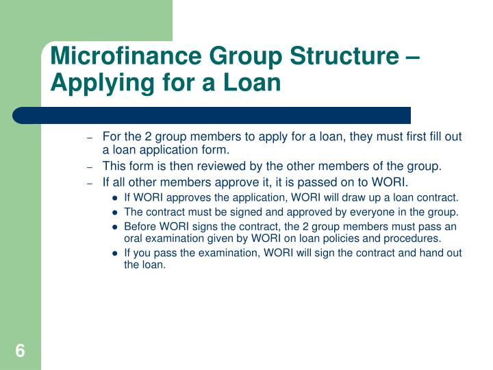 Microfinance Group Structure – Applying for a Loan