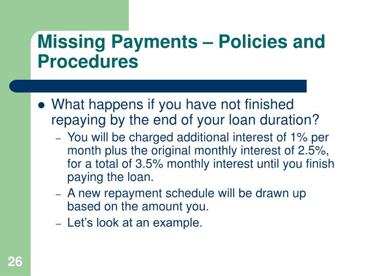 Missing Payments – Policies and Procedures