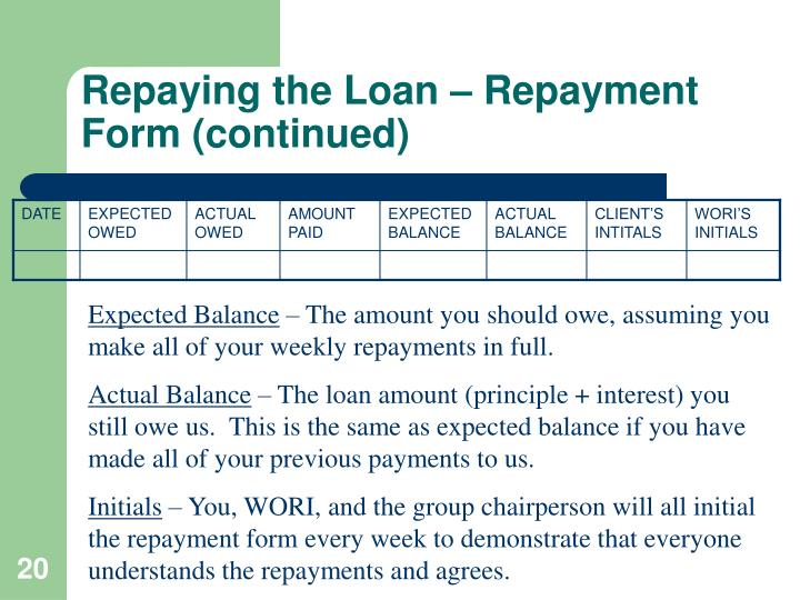 Repaying the Loan – Repayment Form (continued)