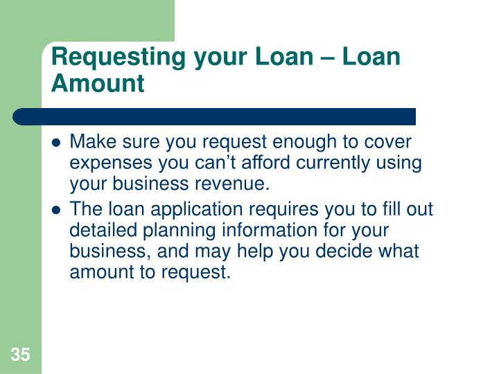 Requesting your Loan – Loan Amount
