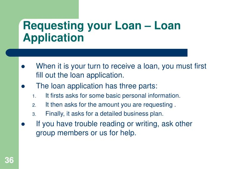 Requesting your Loan – Loan Application