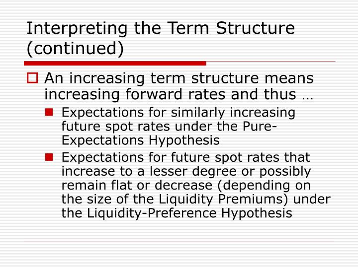 Interpreting the Term Structure (continued)