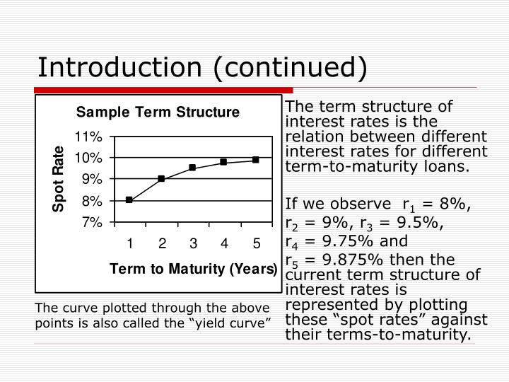 The term structure of interest rates is the relation between different interest rates for different term-to-maturity loans.