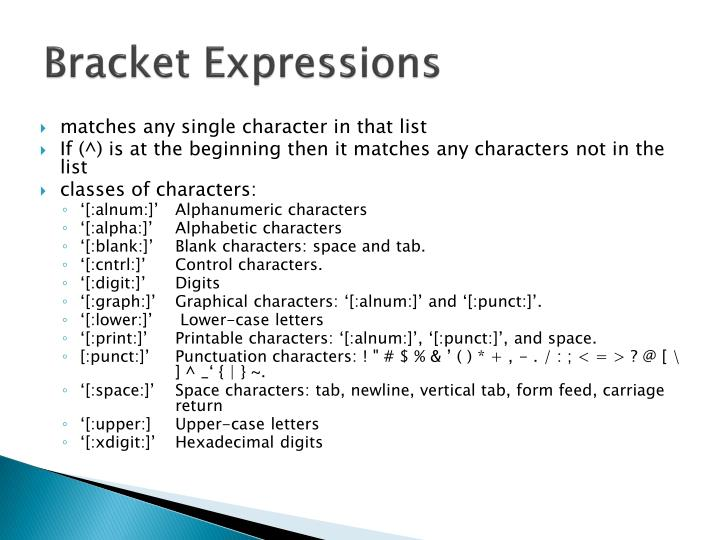 Bracket Expressions