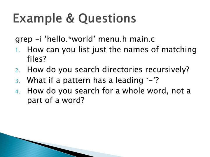 Example & Questions
