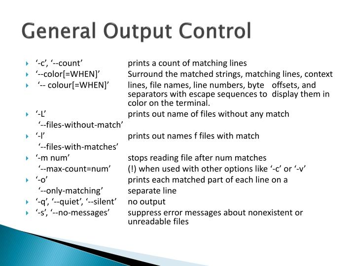 General Output Control