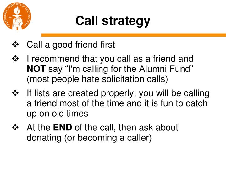 Call strategy
