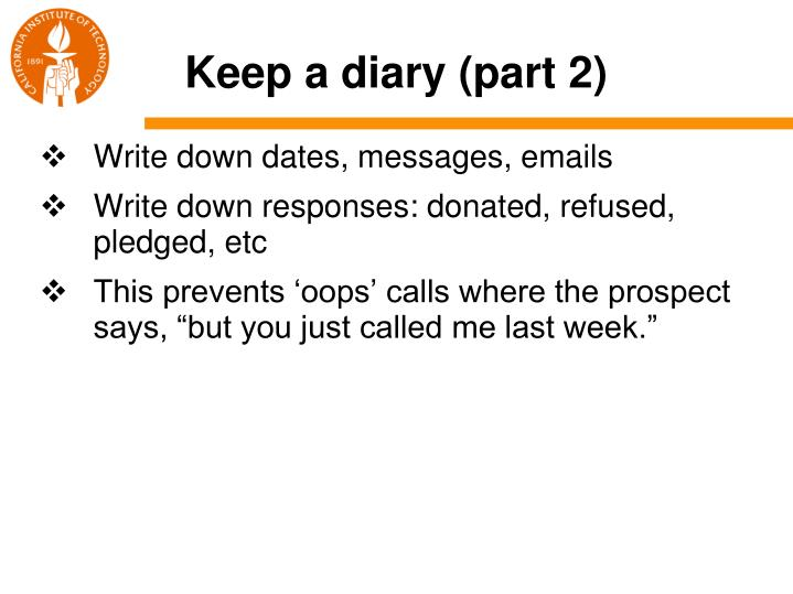 Keep a diary (part 2)