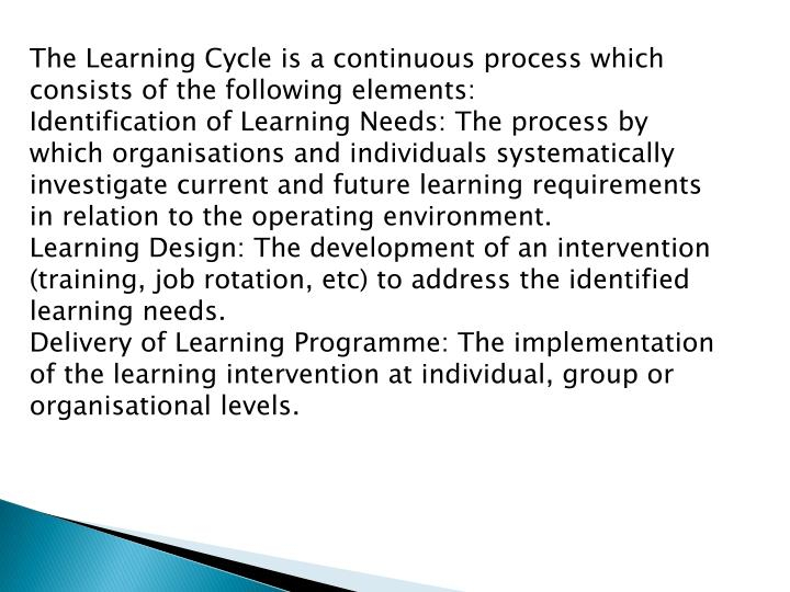 The Learning Cycle is a continuous process which consists of the following elements: