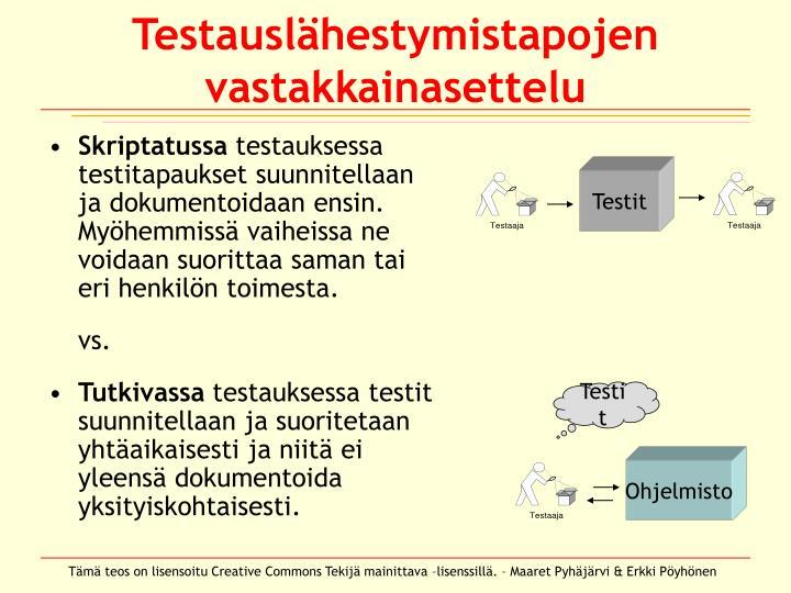 Testauslähestymistapojen vastakkainasettelu
