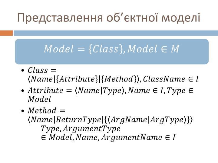 Представлення об'єктної моделі
