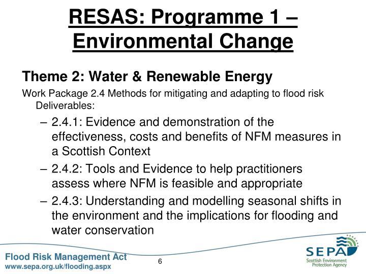 RESAS: Programme 1 – Environmental Change