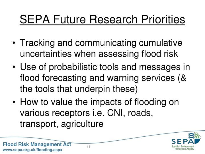 SEPA Future Research Priorities