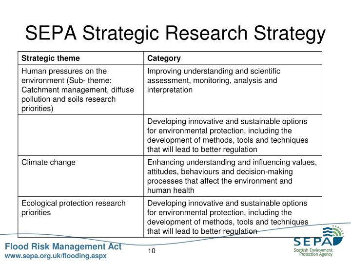 SEPA Strategic Research Strategy
