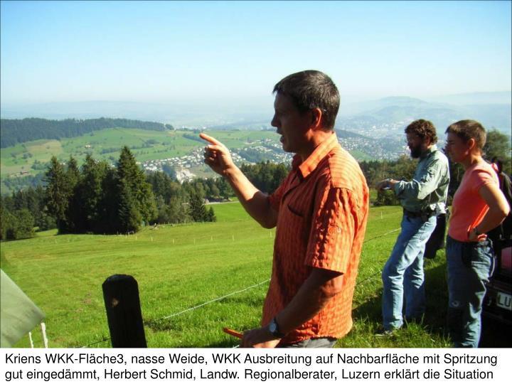 Kriens WKK-Fläche3, nasse Weide, WKK Ausbreitung auf Nachbarfläche mit Spritzung gut eingedämmt,