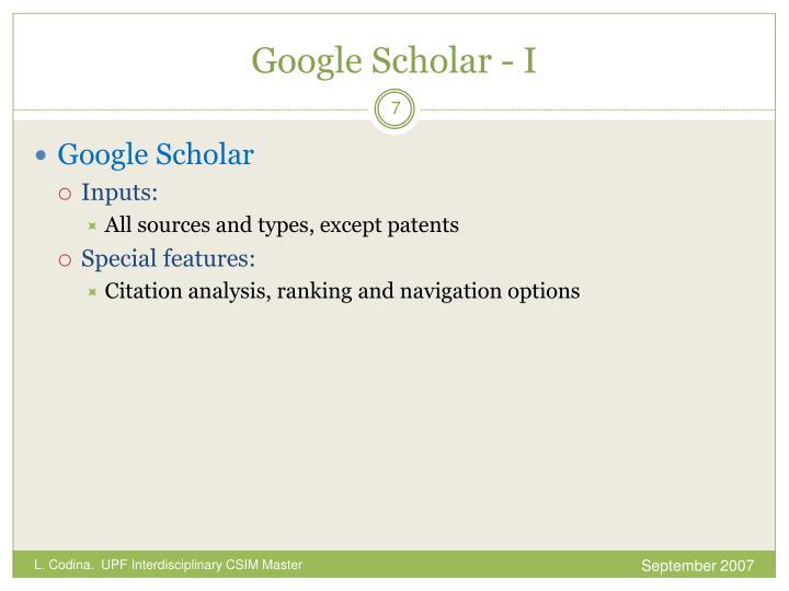 Google Scholar - I
