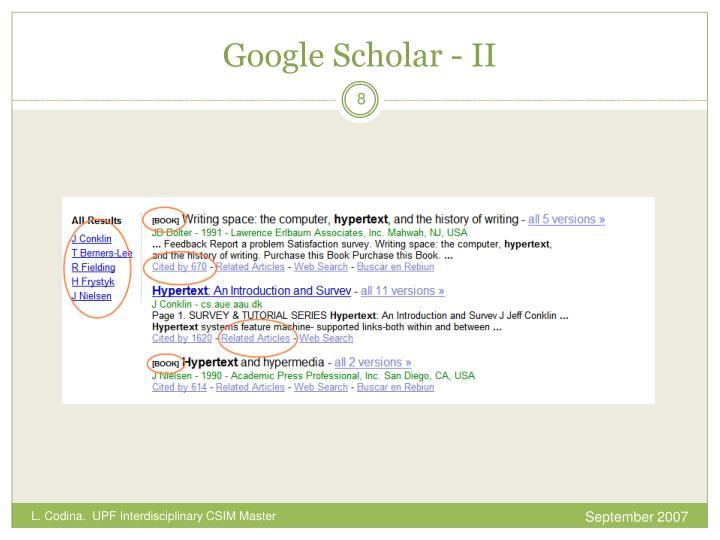 Google Scholar - II