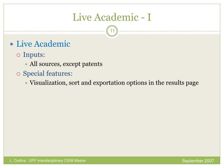 Live Academic - I