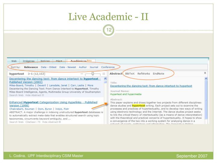 Live Academic - II