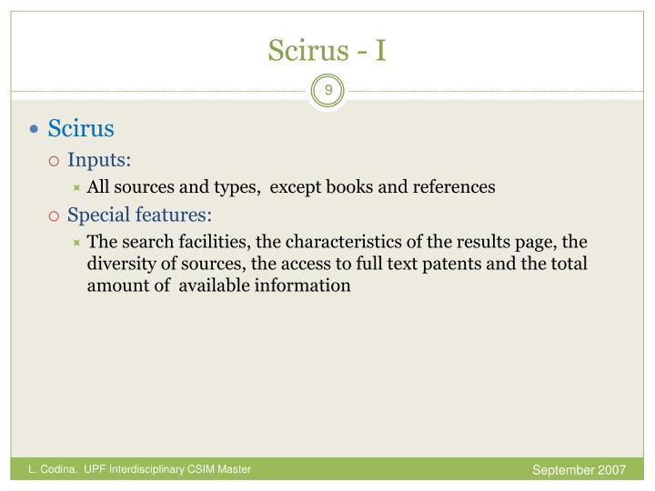 Scirus - I