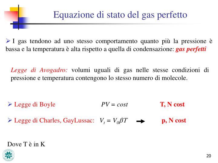 Equazione di stato del gas perfetto