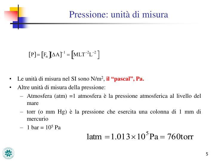 Pressione: unità di misura