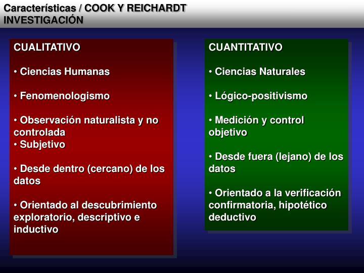 Características / COOK Y REICHARDT