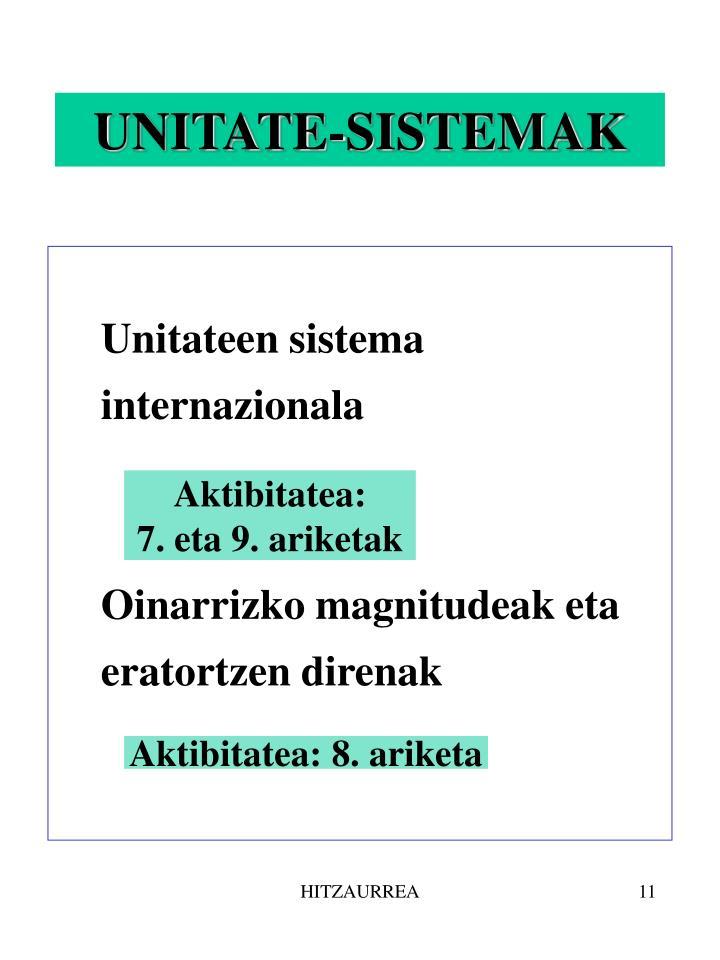 UNITATE-SISTEMAK