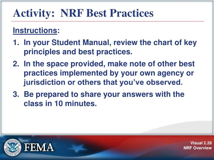 Activity:  NRF Best Practices