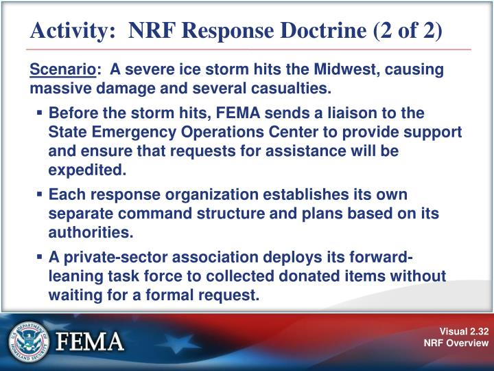 Activity:  NRF Response Doctrine (2 of 2)