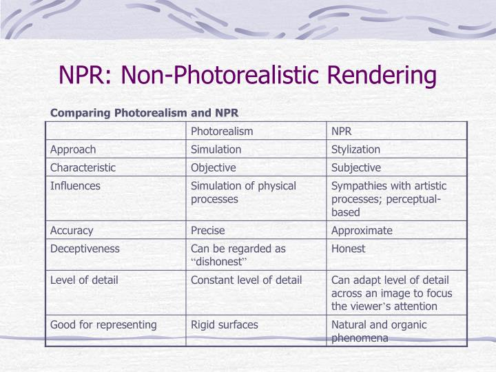 NPR: Non-Photorealistic Rendering