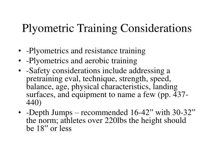 Plyometric Training Considerations