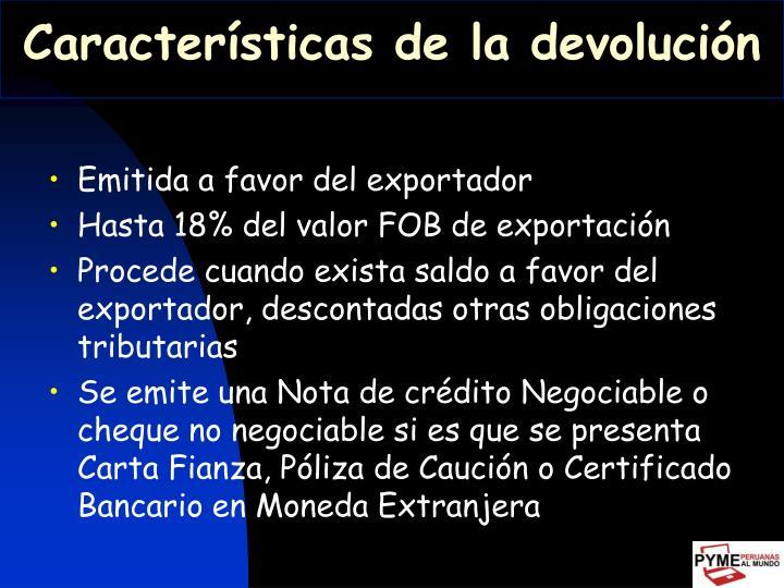 Características de la devolución