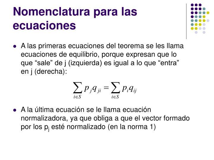 Nomenclatura para las ecuaciones