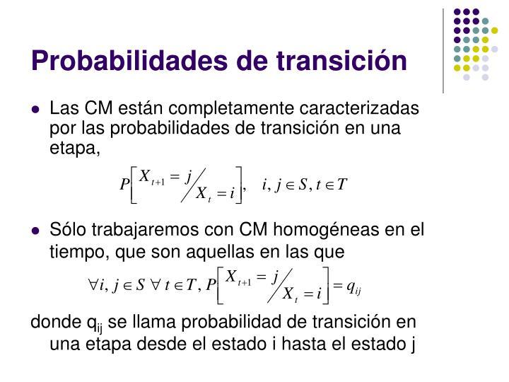 Probabilidades de transición