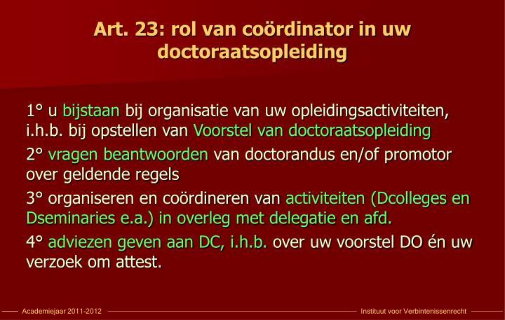 Art. 23: rol van coördinator in uw  doctoraatsopleiding