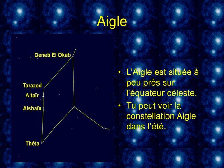 L'Aigle est située à peu près sur l'équateur céleste.