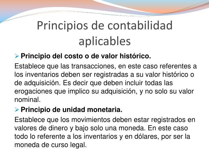 Principios de contabilidad aplicables