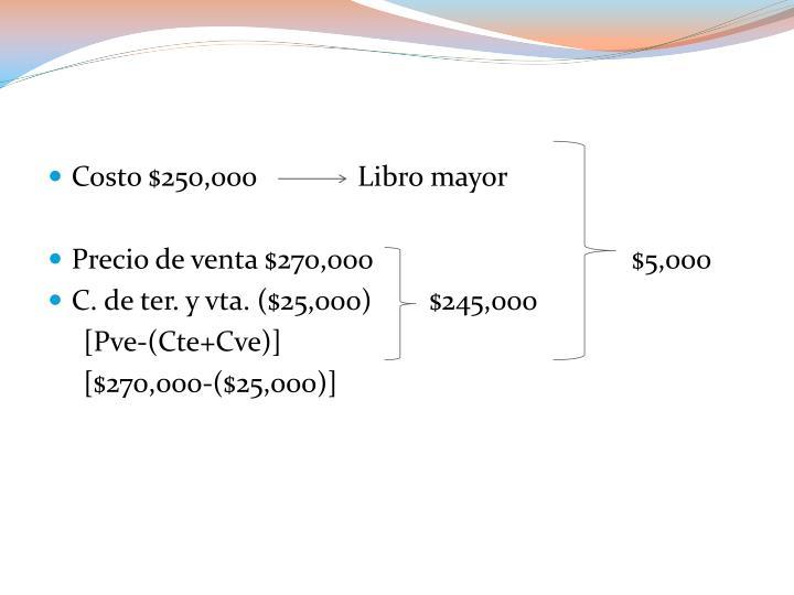 Costo $250,000              Libro mayor