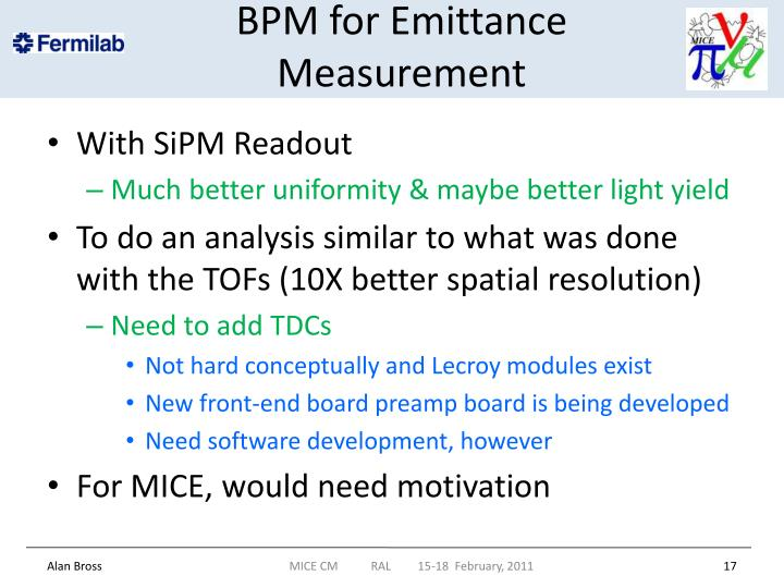BPM for Emittance Measurement