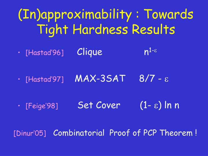 (In)approximability : Towards Tight Hardness Results
