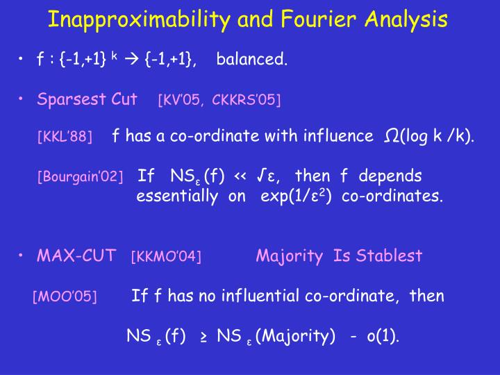 Inapproximability and Fourier Analysis