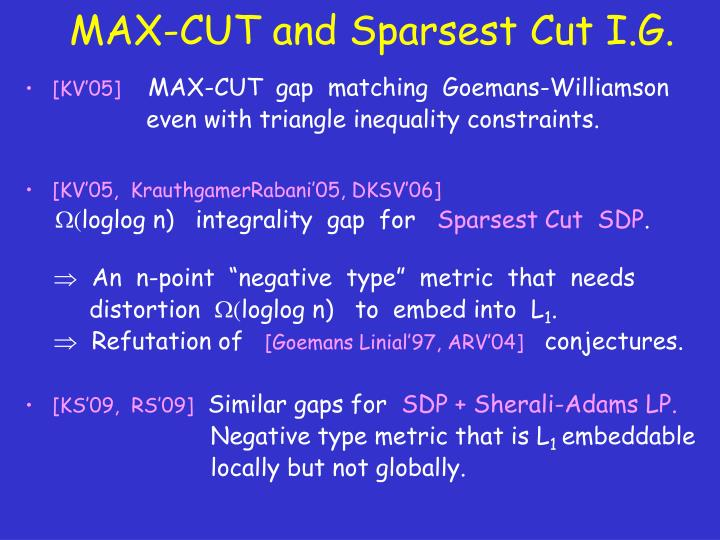 MAX-CUT and Sparsest Cut I.G.