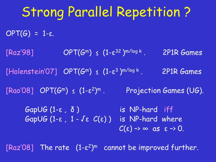 Strong Parallel Repetition ?
