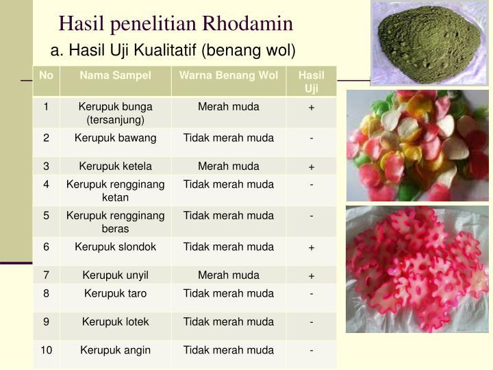Hasil penelitian Rhodamin